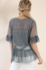 The Vintage Valet Gray Lace Top - Front full body