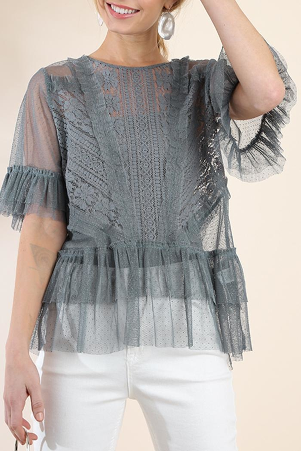 The Vintage Valet Gray Lace Top - Main Image