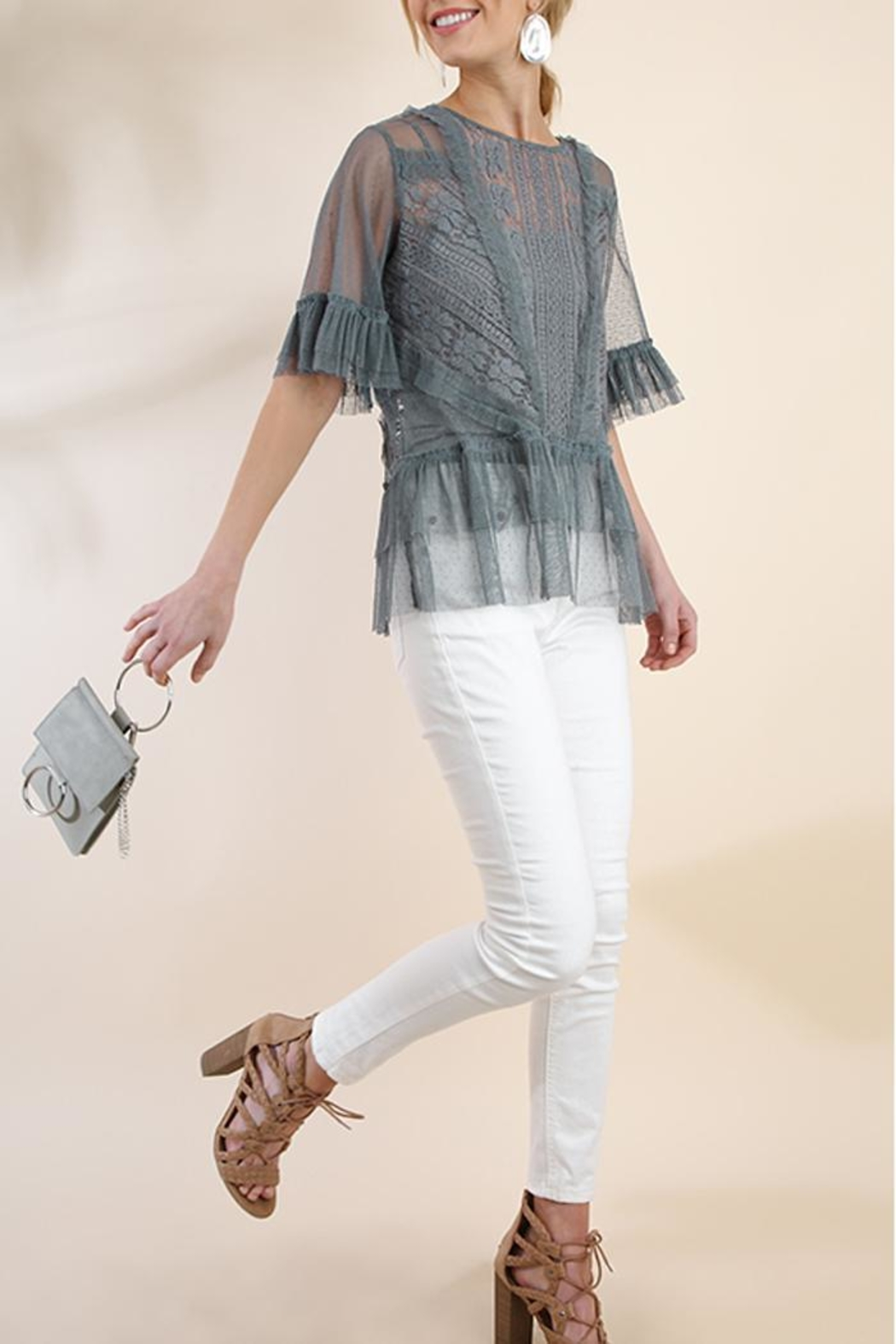 The Vintage Valet Gray Lace Top - Side Cropped Image