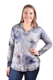 Ethyl Gray Peacock Feather Print Knit Top - Product Mini Image