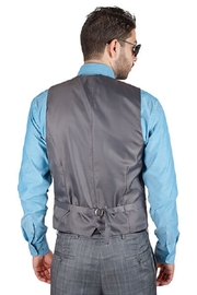AZM Gray Plaid 5 Button Slim Fit Vest - Front full body
