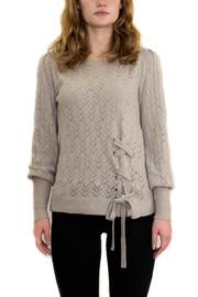 Mystree Gray Pointelle Sweater - Product Mini Image