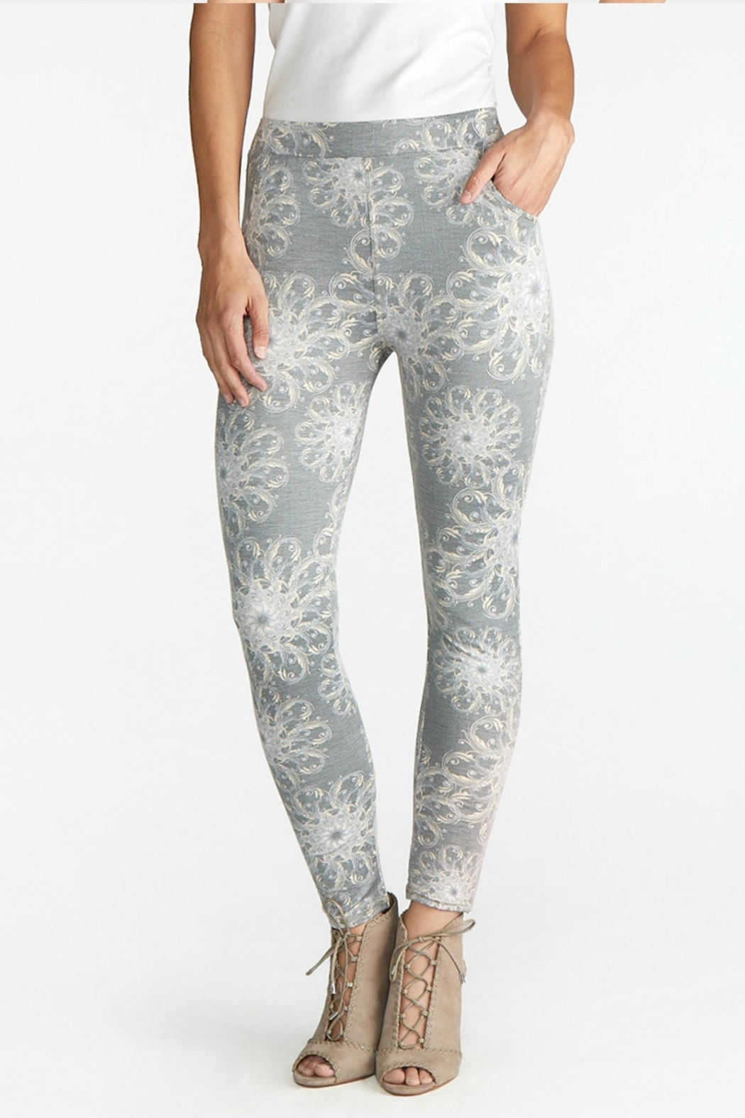 Coco + Carmen Gray-Print Maisey Pocket-Leggings - Main Image
