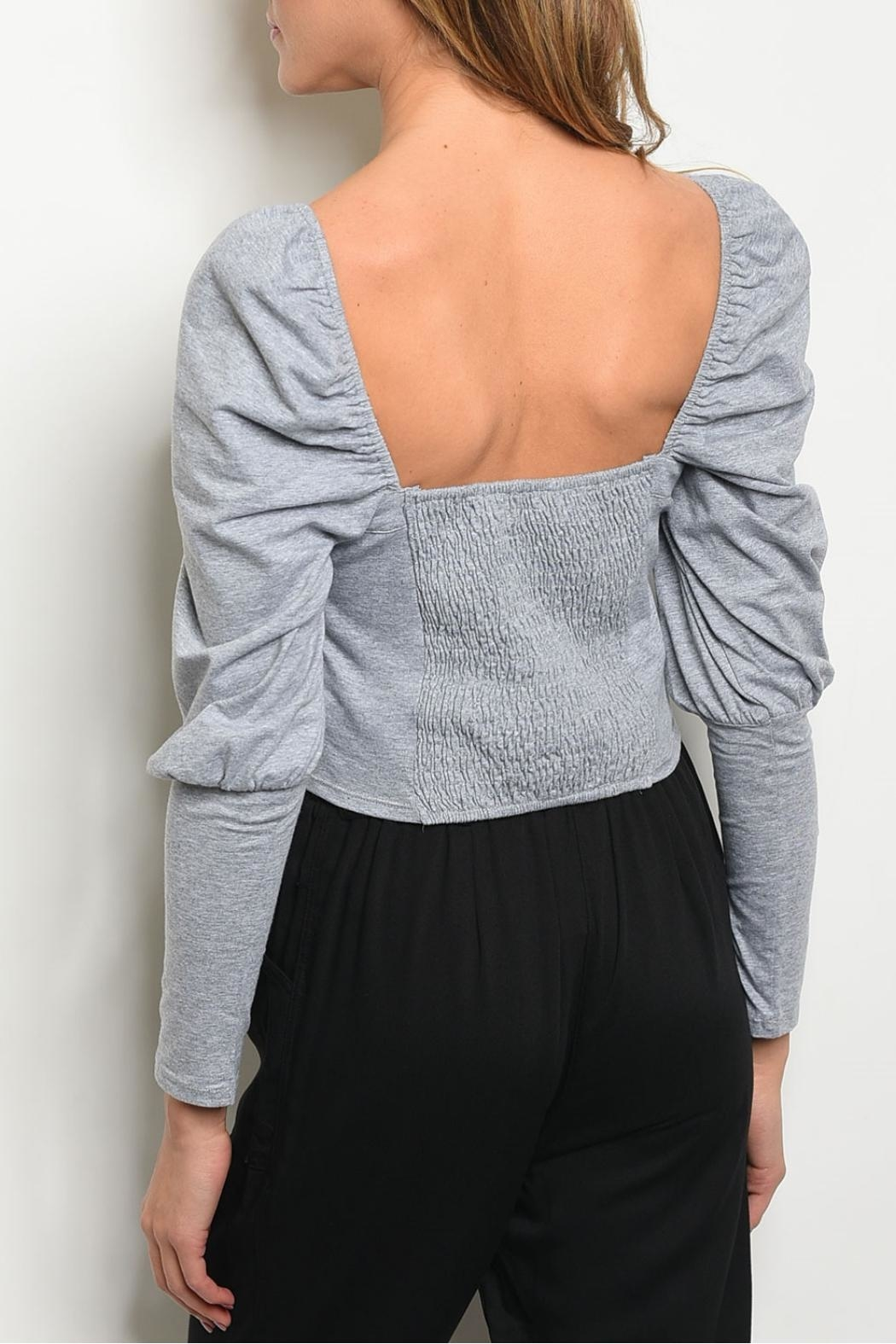 Mustard Seed Gray Puff Top - Front Full Image