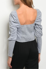 Mustard Seed Gray Puff Top - Front full body