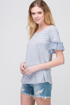 Les Amis Gray Ruffle-Sleeve Top - Product List Image