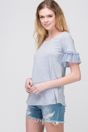 Les Amis Gray Ruffle-Sleeve Top - Product Mini Image