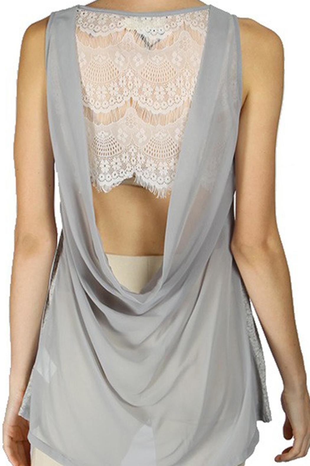 The Vintage Valet Gray Sheer Tanktop - Front Cropped Image