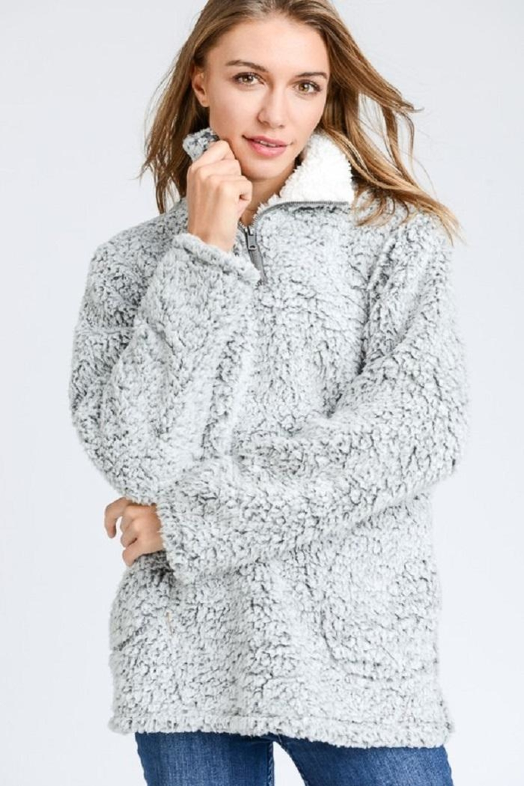 Trend Shop Gray Sherpa Fleece - Front Cropped Image