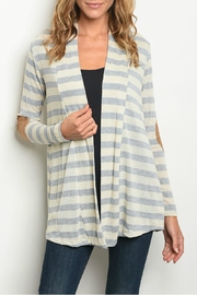 Always Me Gray Stripe Cardigan - Product Mini Image