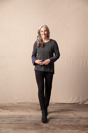 Habitat  Gray sweater pullover top with bangle roll on sleeves. - Product Mini Image