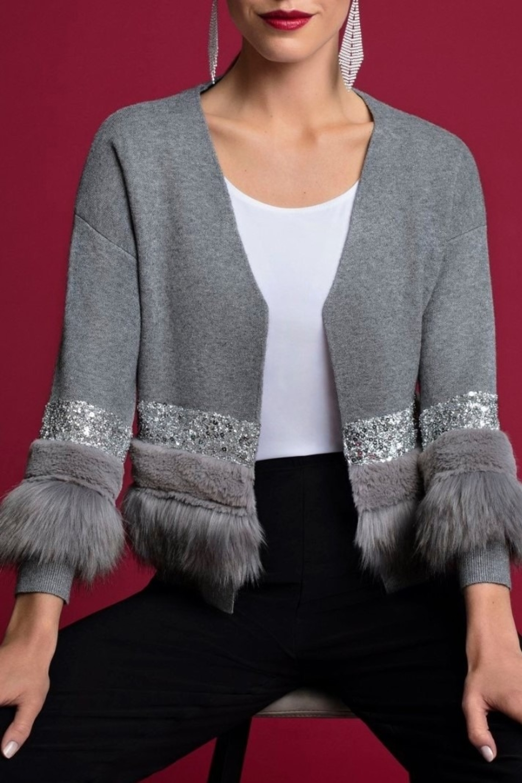 Frank Lyman Gray Sweater Throw Over - Front Cropped Image
