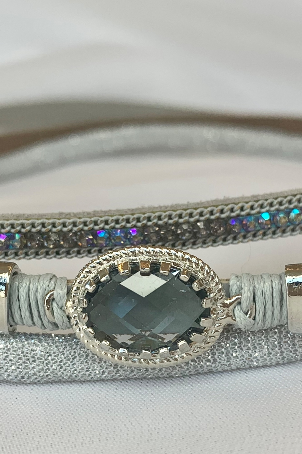 deannas Gray vegan leather choker with rhinestone accents - Main Image