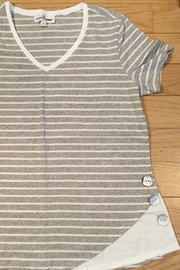 Neon Buddha Gray / white striped V-neck - Product Mini Image