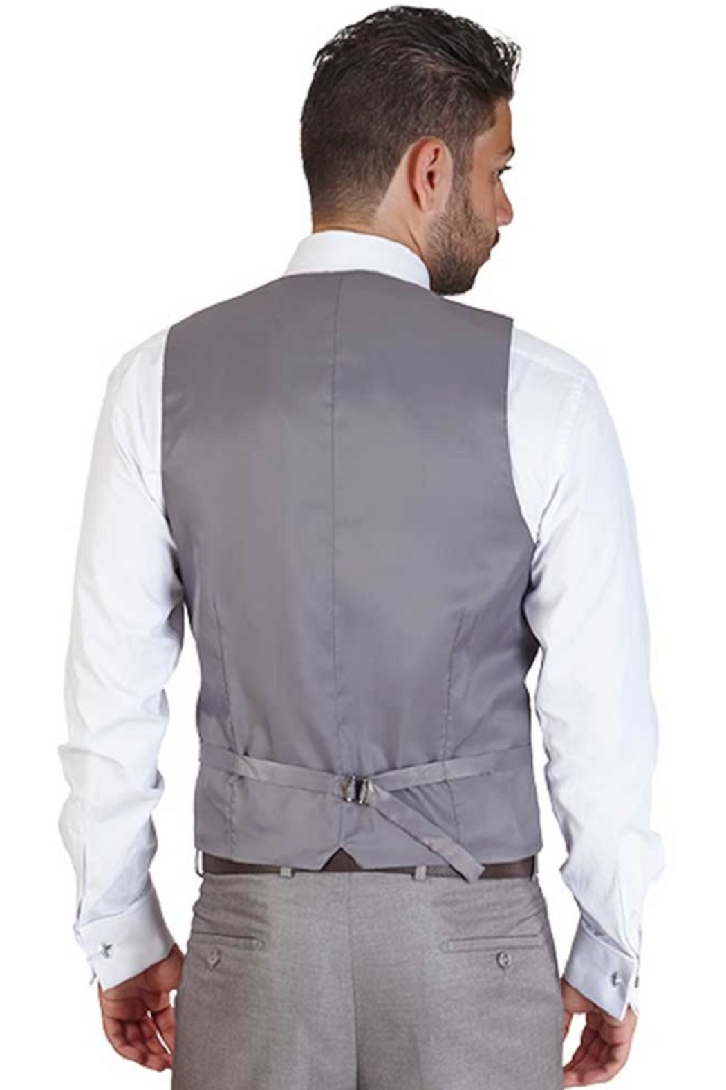 AZM Gray Windowpane 5 Button Slim Fit Vest - Front Full Image