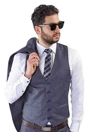 AZM Gray Windowpane 5 Button Slim Fit Vest - Front cropped