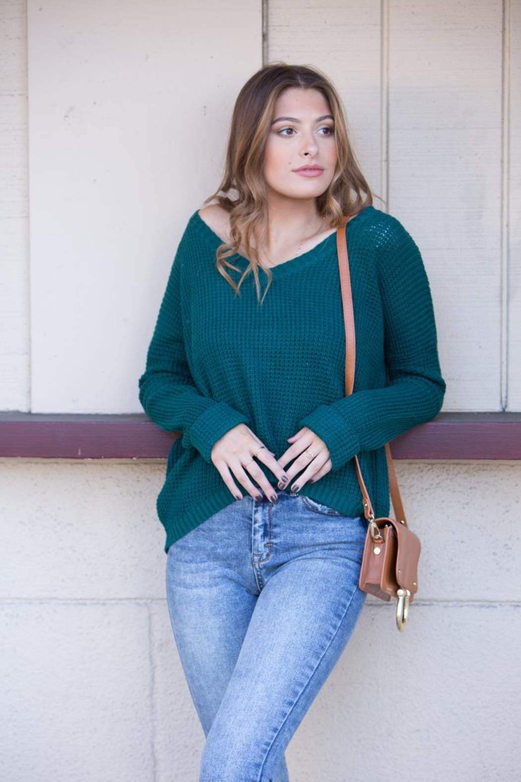MinkPink Grayson Waffle Knit Sweater - Front Cropped Image