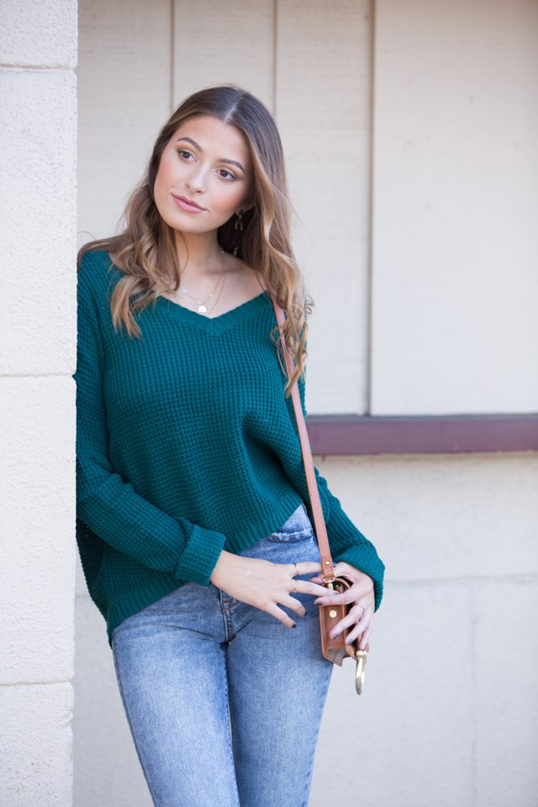 MinkPink Grayson Waffle Knit Sweater - Front Full Image