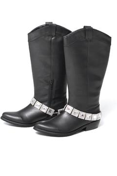 Grazie Black Rhinestone Boot - Alternate List Image