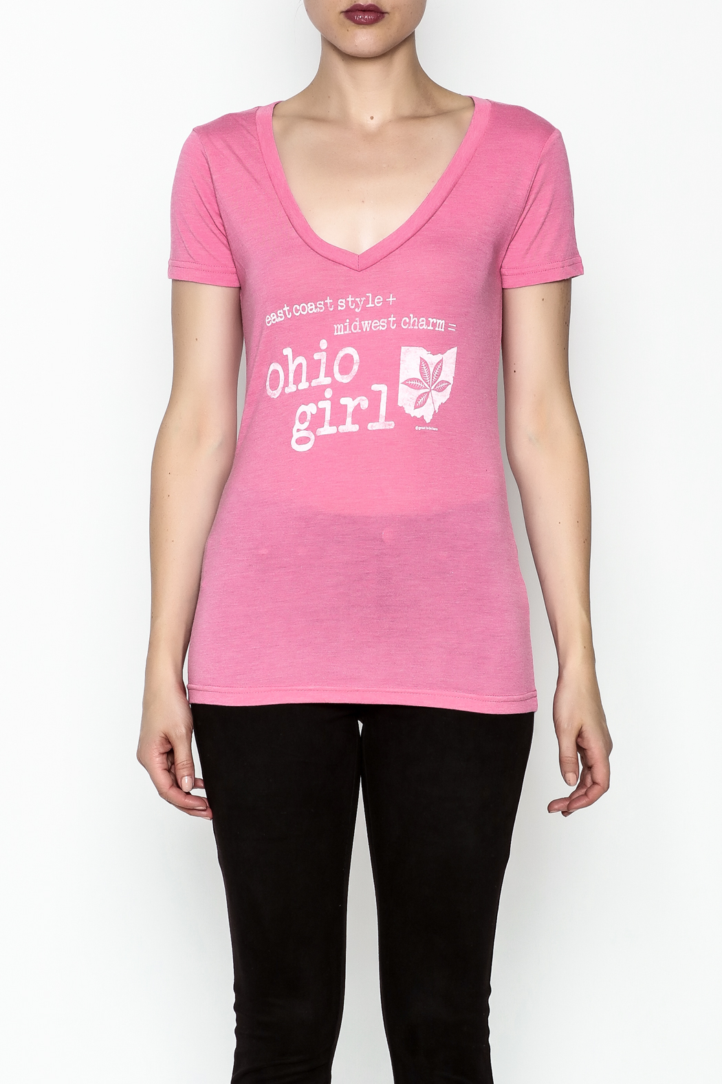 Great To Be Here Ohio V Neck Tee - Front Full Image