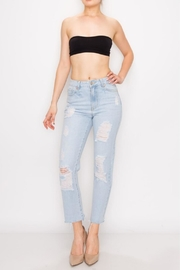 Great Smoky Bleached Ripped Mom Jean - Front cropped