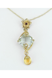 Margolin & Co Green Amethyst Necklace, Garnet Necklace, Citrine Necklace, Dangle Drop Pendant Necklace Yellow Gold 18
