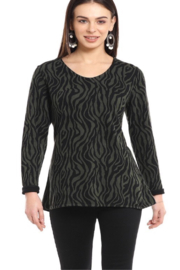 Parsley and Sage  Green and black long sleeve tunic top - Product Mini Image