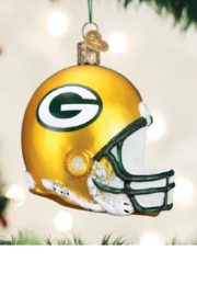 Old World Christmas Green Bay Helmet Ornament - Front cropped
