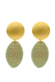 Liza's Jewelry  Green Beehive Earring - Front cropped