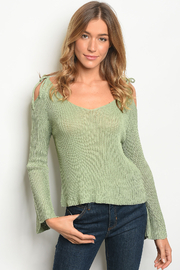 O&O Green Bell Sleeves Knit Top - Product Mini Image
