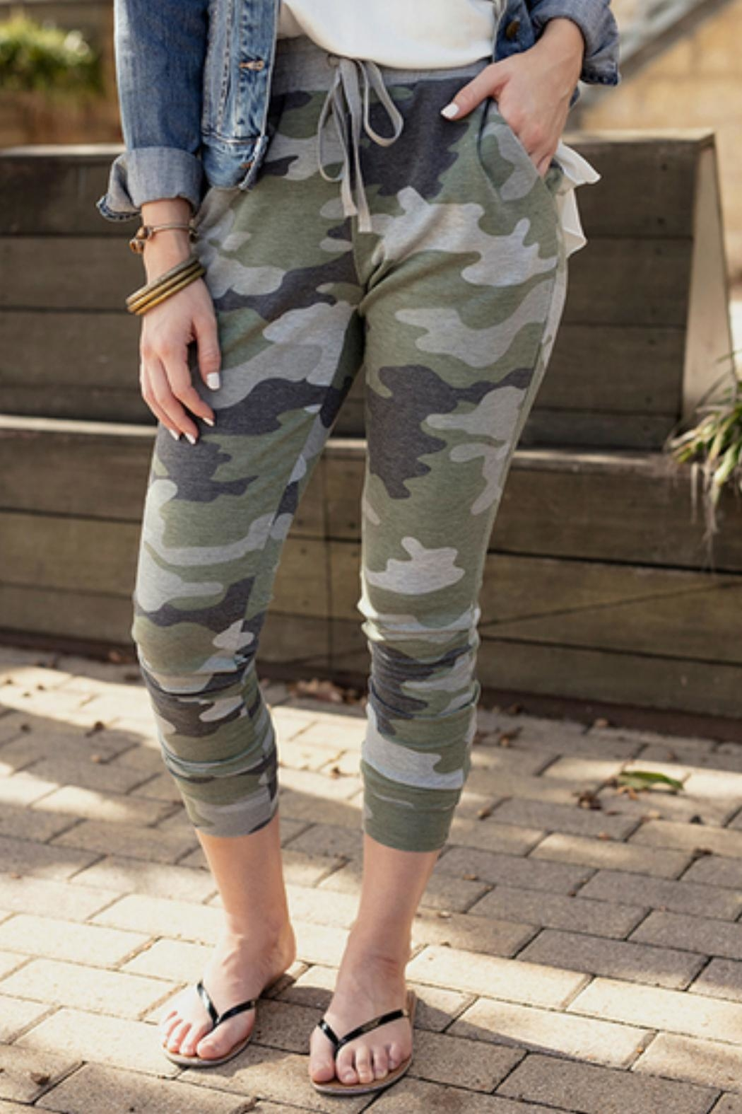 Grace & Lace Green Camo Joggers - Front Full Image
