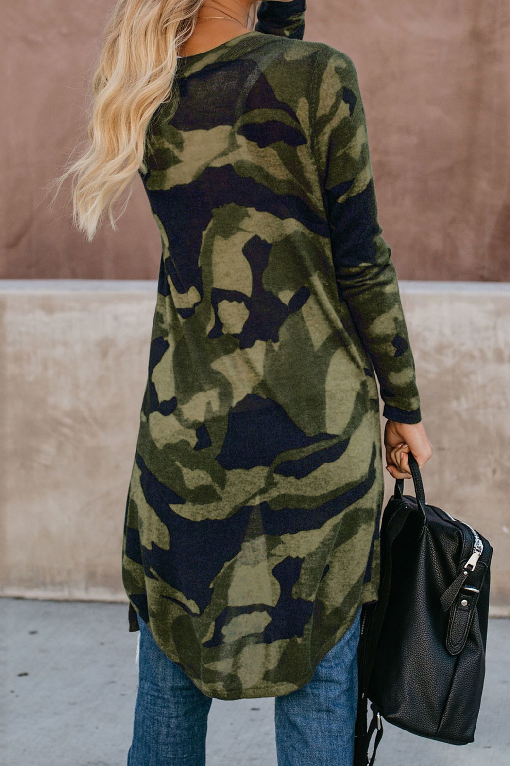 Love Valentine Boutique Green Camo Print Long Cardigan - Front Full Image