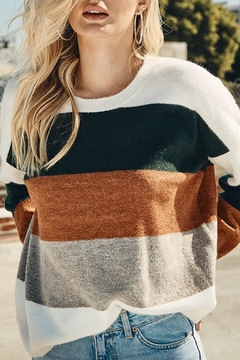 Shoptiques Product: Green Color-Block Sweater