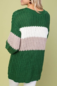 Main Strip Green Colorblock Sweater - Alternate List Image