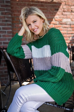 Main Strip Green Colorblock Sweater - Product List Image
