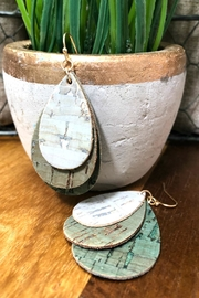 Izzie's Boutique Green Cork Earrings - Front cropped
