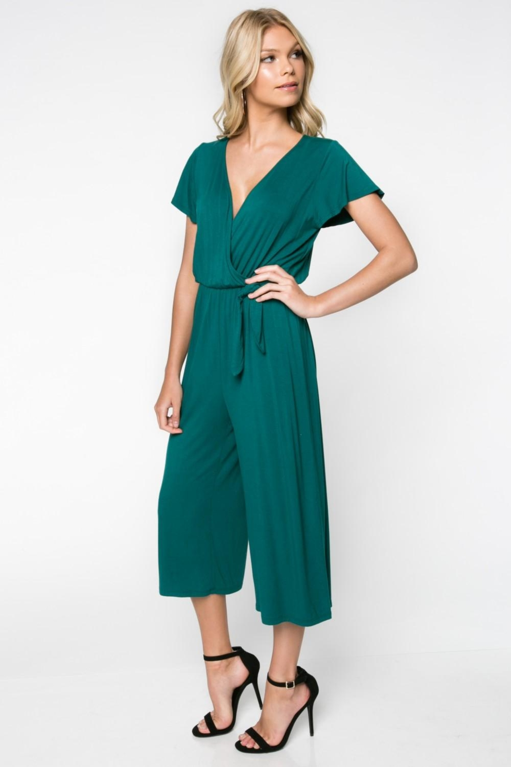Everly Green Cropped Jumpsuit - Side Cropped Image