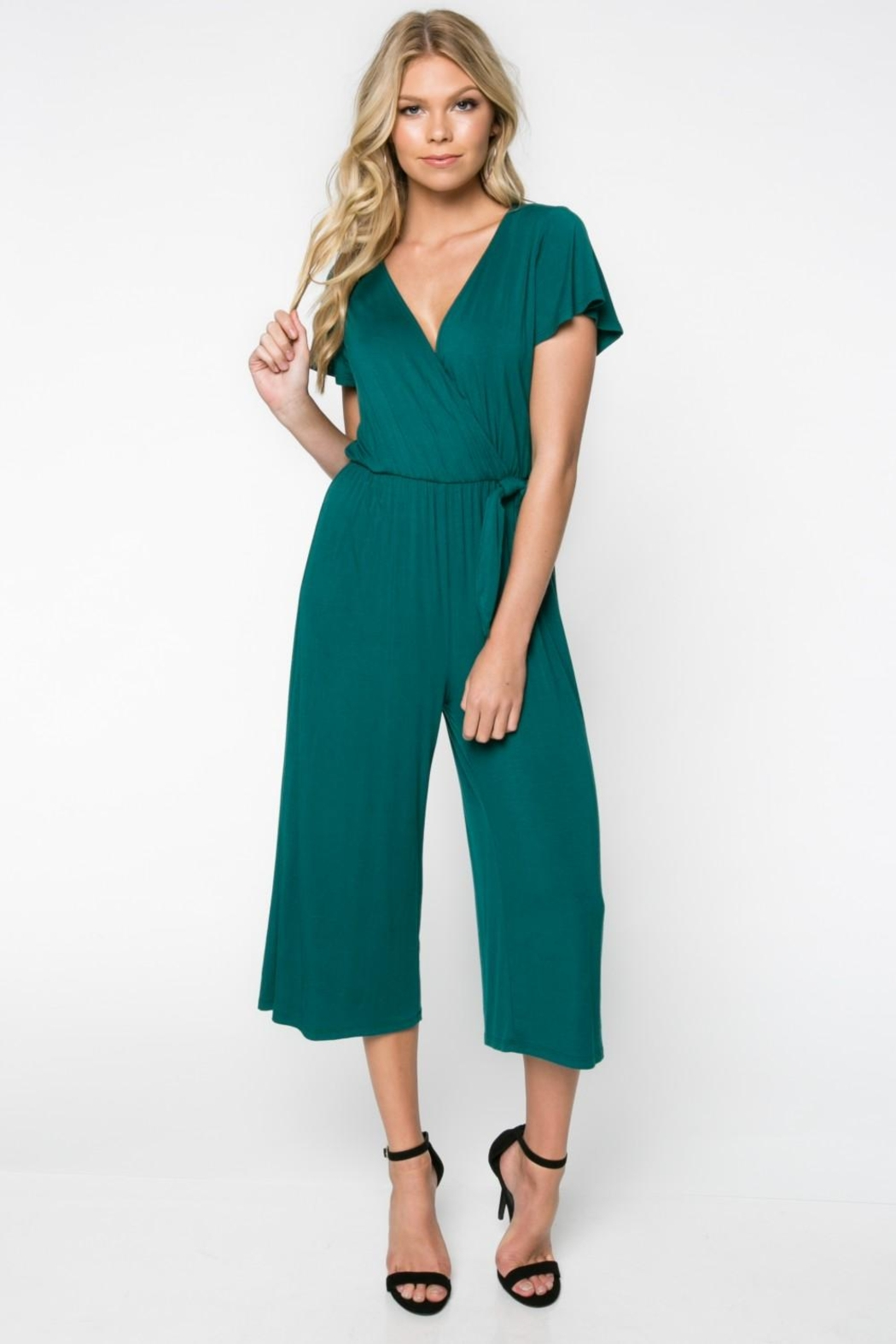 Everly Green Cropped Jumpsuit - Main Image