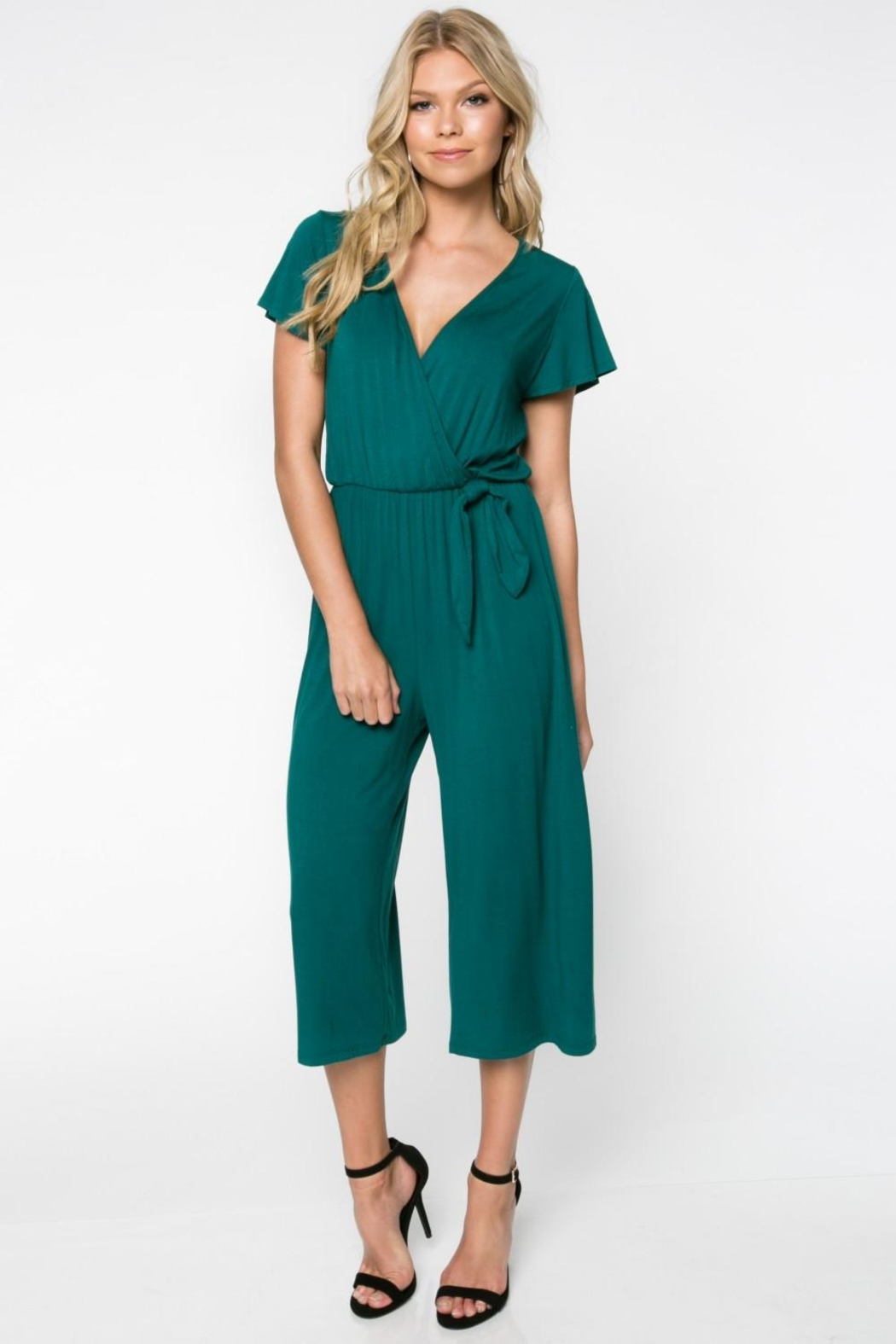 Everly Green Cropped Jumpsuit - Front Full Image