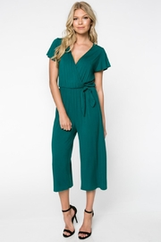 Everly Green Cropped Jumpsuit - Front full body