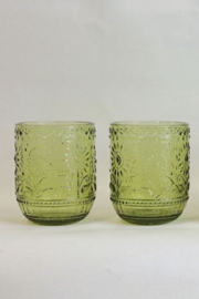 Creative Co-Op Green Embossed Glass - Front full body