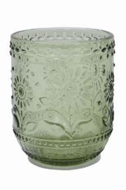 Creative Co-Op Green Embossed Glass - Front cropped