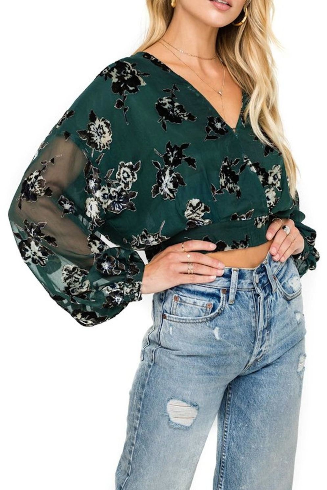 ASTR Green Floral Blouse - Main Image