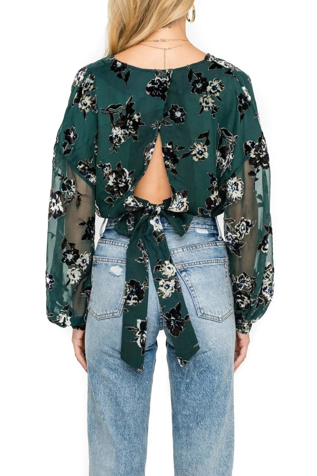 ASTR Green Floral Blouse - Side Cropped Image