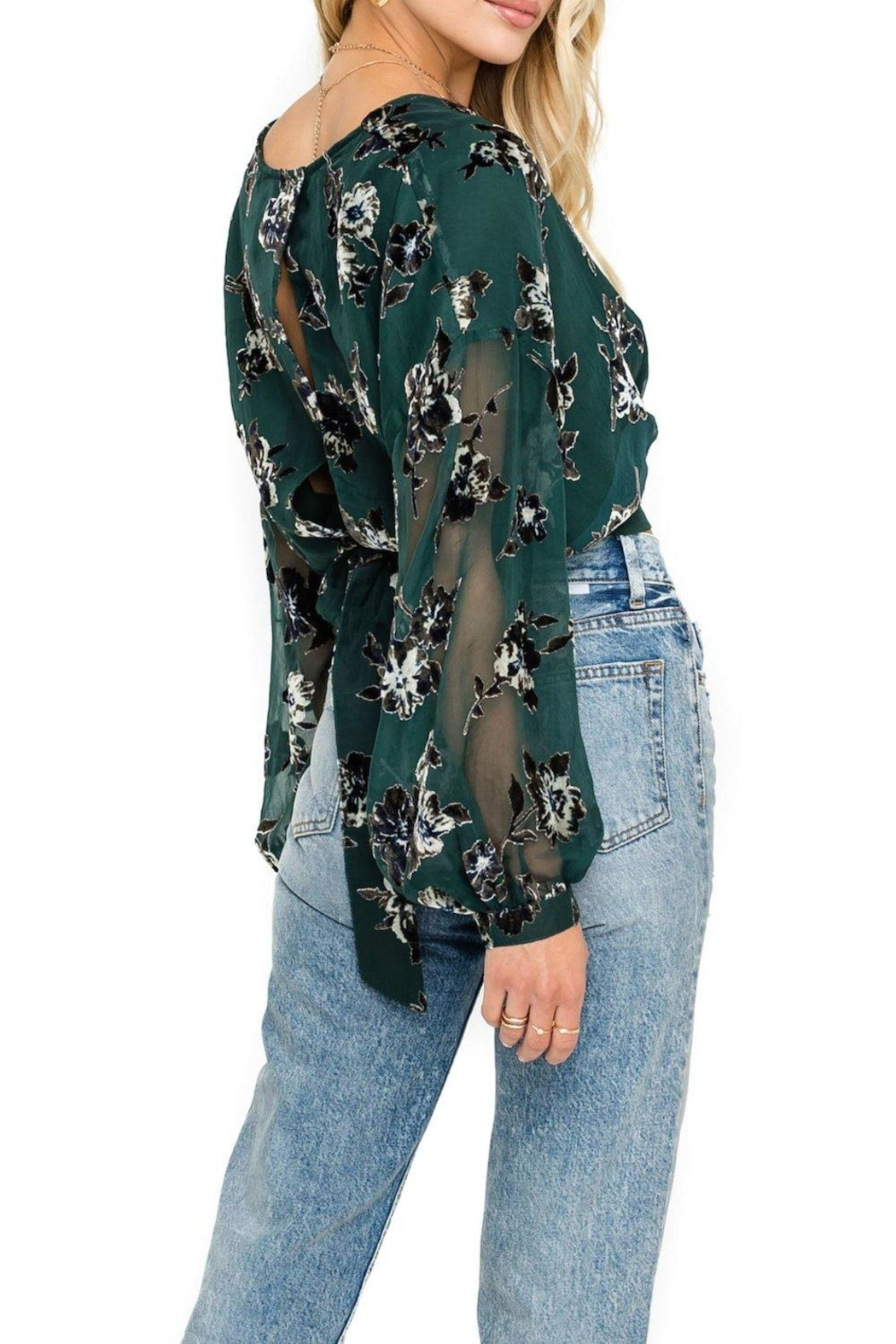 ASTR Green Floral Blouse - Front Full Image