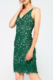 Minuet Green Floral Lace Short Dress - Front full body