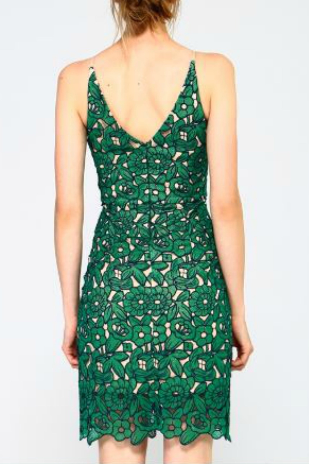 Minuet Green Floral Lace Short Dress - Side Cropped Image