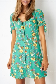 frontrow Green-Floral Shift Dress - Product Mini Image