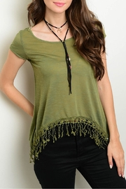 Roommates Green Fringes Top - Product Mini Image