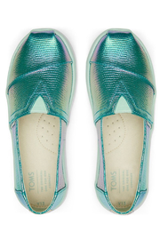 TOMS Green Iridescent Snake Youth Classics - Front full body